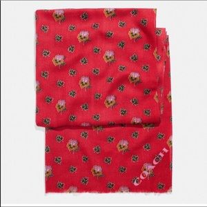 Coach Western Floral Printed Oblong Scarf